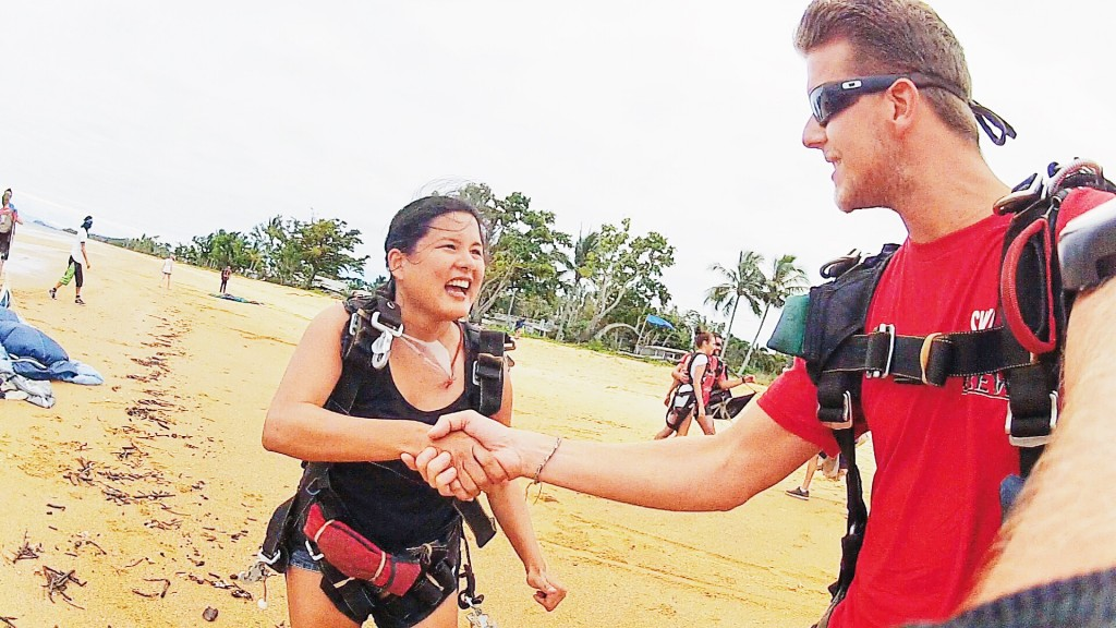 Thanking my skydiving master for a great flight